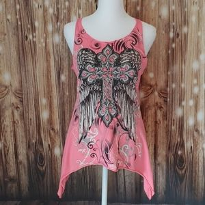 Ransom Small neon pink tank top bling cross wings